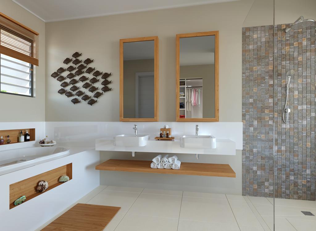 Salle de bain principale avec baignoire