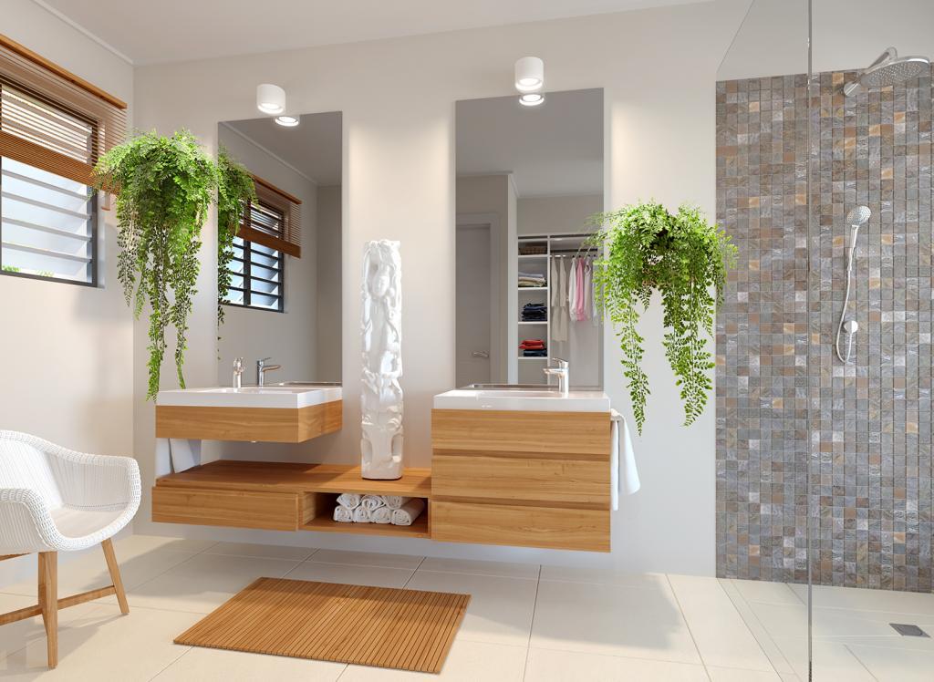 Salle de bain principale sans baignoire